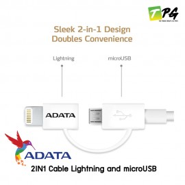 ADATA 2IN1 Cable Lightning and microUSB **สายยาง** 100cm. White